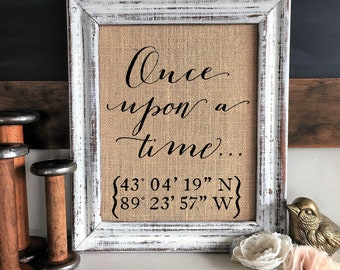 Anniversary Gifts for Girlfriend, Wife, Fiance, Engagement Gifts for Couple, Personalized Burlap Coordinates Sign, Unique Valentine's Gifts