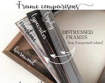 Framing Add-on | Reclaimed Barnwood or Distressed Painted Wood Frames | Handpainted in your choice of color