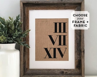 Anniversary Gifts for Boyfriend, Husband, Fiance | Unique Roman Numerals Burlap Gifts for Him | Personalized Important Wedding Date Gifts