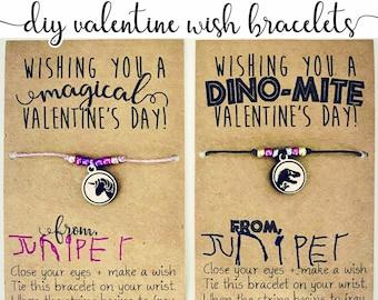 DIY Valentines - Unicorn + Dinosaur Wish Bracelet Charm SVG File for Glowforge Laser Cutter + Valentine Card Printable PDF - Only Digital