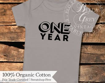 One Year Old Onesie - Custom Month Organic Cotton Baby Onesie - One Piece Romper Creeper - Baby Boy or Girl Clothing Months Old Photos