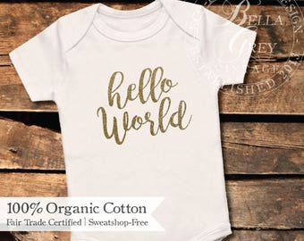 Hello World - Organic Cotton Knit Baby Onesie - One Piece Romper Creeper - Gender Neutral Baby Shower Gift - Boy or Girl Unisex Infant