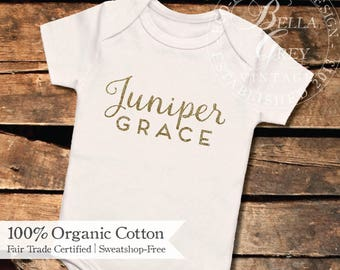 Personalized Name Organic Cotton Knit Baby Onesie - One Piece Romper Creeper - Baby Girl Clothing Gift - First and Middle Name