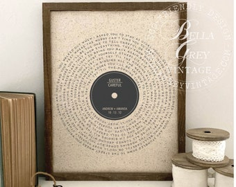 Vinyl Record Song Lyrics - 2nd Cotton 4th and 12th Linen 5th Wood Anniversary - for Music Loving Husband or Wife - Sustainable Gift