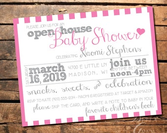 Pink Heart Themed Baby Shower Invitation - Open House Shower Celebration -  Digital File Download - Snacks, Sweets, Celebration Pink Invite