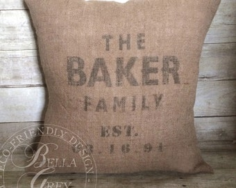 Family Last Name Burlap Pillow Cover - Established Date - Wedding Gift - Hessian Pillow - Anniversary Gift