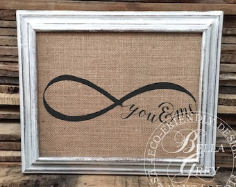 You & Me Forever Sign - Burlap Cotton Art Print - Infinity Sign Decor - Anniversary Gift - Wedding Gift - Valentine's Day Gift Nursery Decor