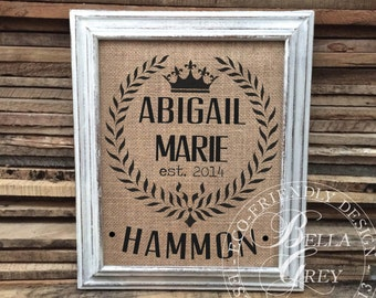 Crown & Wreath Burlap or Natural Cotton Art Print Sign - Baby Gift - Nursery Decor Baby Shower Gift - Rustic Nursery Personalized Baby Gift