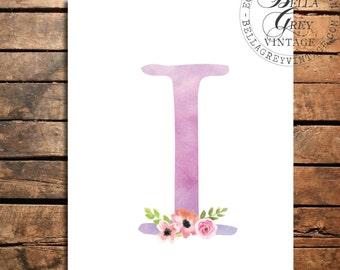 Woodland Flower Nursery Monogram Initial Art Print - Watercolor Art Print - Nursery Decor - Baby Shower - Letter I - Personalized Baby Gift