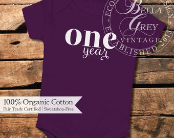 One Year Old - Custom Month Organic Cotton Baby Onesie - One Piece Romper Creeper - Baby Boy or Girl Clothing Onesie Months Old Photos