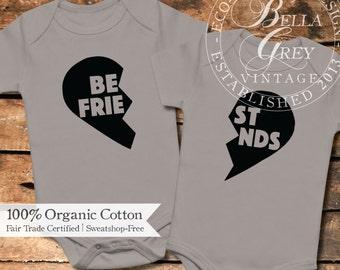 Best Friends - Set of 2 Organic Cotton Baby Onesie - Onesie One Piece Romper Creeper - Gender Neutral Clothing - Friendship Gift - Besties