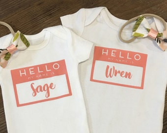 Hello My Name Is Organic Cotton Baby Onesie Bodysuit - Going Home Outfit - Personalized Baby Gift - First Middle Name - Choose Your Color