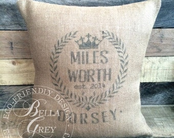 Royal Crest Personalized Burlap Pillow Cover - Baby Shower New Baby Gift - Wreath Monogram - Shabby Chic Nursery Decor - Baby's Room