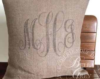 Monogrammed Burlap Pillow Cover Personalized Graduation Gift - Initials - Wedding Gift - Hessian Pillow - Couple's Initials - Bridal Shower