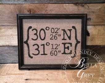 Housewarming Gift - New Home Burlap Coordinates - Longitude Latitude Sign - Wedding Gift for Husband - Engagement Gift for Fiance - Rustic