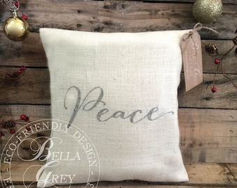Peace Burlap or Natural Cotton Fabric Pillow Cover - Christmas Decor - Shabby Chic Christmas - Hostess Gift - Holiday Gift - Christmas Gift