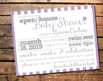 Mermaid Beach Shell Themed Baby Shower Invitation - Open House Shower Swim Over -  Digital File Download - Lavender Purple Girl Baby Shower