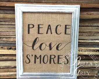 Peace Love Smores - Burlap Sign Art Print - Camping Art - Cotton Art Print - Lake House - Shabby Chic Cottage Summer Art Lake Decor