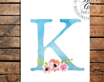 Woodland Flower Nursery Monogram Initial Art Print - Watercolor Art Print - Nursery Decor - Baby Shower - Letter K - Personalized Baby Gift