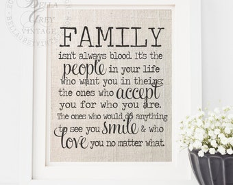 Friendship Gift - Birthday Gift for Stepmom Stepdad - Birthday Gift for Friend - Family Isn't Always Blood - Burlap, Linen Art Print