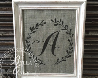 Calligraphy Initial Wreath - Burlap or Cotton Fabric Art Print Sign - Personalized - Wedding - Anniversary - Bridal Shower Baby Shower Gift