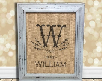 Personalized Baby Gift - Gift for New Baby Nursery - Baby's Name - Gift for Baby Boy - Rustic Nursery Burlap Sign -