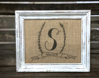 Last Name Monogram Burlap Cotton Fabric Art Print Sign - Customized Established Date Personalized Wedding - Anniversary - Bridal Shower Gift