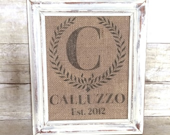 Wedding Monogram Established Burlap Sign or Cotton Art Print - Personalized Anniversary Gift - Bridal Shower - Last Name Date Monogram