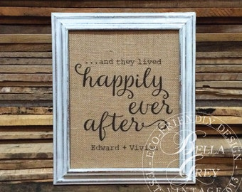 And They Lived Happily Ever After - Burlap or Cotton Fabric Art Print - Wedding - Anniversary - Personalized Couple - Valentine's Day Gift