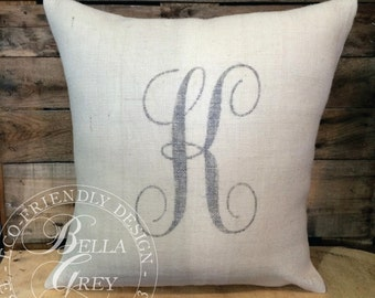 Burlap Initial Monogram Pillow - Bridal Shower Gift - Wedding Gift - Anniversary - Bridesmaid Gift - Personalized Gift