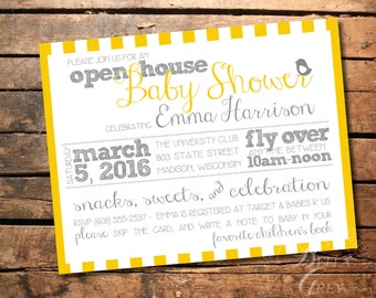 Gender Neutral Bird Themed Baby Shower Invitation - Open House Shower Fly Over -  Digital File Download - Boy or Girl Baby Shower