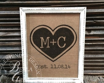 Heart & Initials Burlap Sign or Natural Cotton Art Print - Bridal Shower Gift - Wedding Gift - Anniversary Gift - Burlap Sign