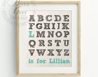 Personalized Alphabet ABC Sign - Linen Cotton Burlap Nursery Decor - Baby Shower - Baby Room - Newborn Gift - Customized with Child's Name