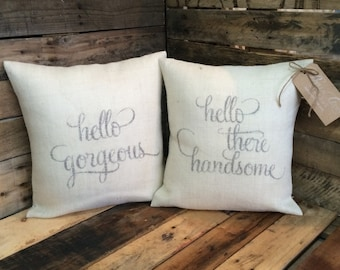 Hello Gorgeous - Hello There Handsome - Newlywed Bedroom Decor - Wedding Gift - Bridal Shower Gift - Anniversary Gift - Mr & Mrs Gift