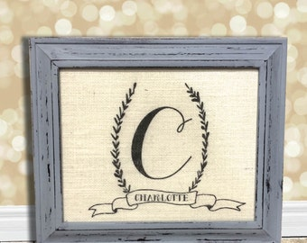 Burlap Baby Monogram Sign Art Print - Natural Cotton Fabric Art Print - Baby Gift - Nursery Decor - Baby Shower Gift - Newborn Gift