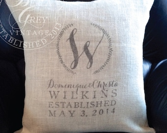 Monogrammed Burlap Pillow Cover - Names and Est Date - Hessian Pillow - Personalized Wedding Gift - Anniversary Gift - Housewarming Gift