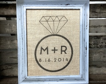 Modern Engagement Ring Initials Burlap Sign Cotton Art Print - Customized Personalized Engagement - Wedding - Bridal Shower Anniversary Gift