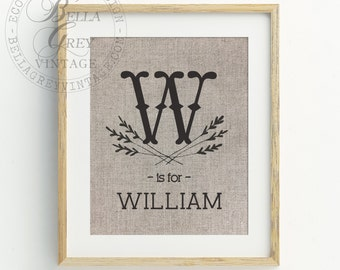 Rustic Personalized Name Print - Monogrammed Linen Cotton Burlap Sign Art - Baby Gift - Kid's Room - Nursery Decor - Baby Shower