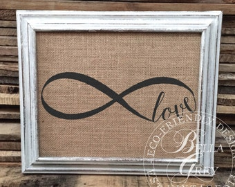 Infinite Love Sign - Burlap or Cotton Art Print - Infinity Sign Decor - Anniversary Gift - Wedding Gift - Love Gift - Nursery Decor