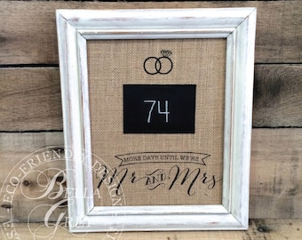 Wedding Countdown Sign - Burlap and Chalk - Bridal Shower Gift - Engagement - Mr. & Mrs. Countdown - Rustic Wedding Cotton Fabric Art Print