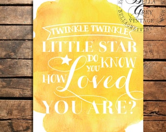 Twinkle Twinkle Little Star Do You Know How Loved You Are - Watercolor Art Print - Nursery Decor - Baby Shower - New Baby Gift