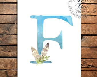 Woodland Nursery Monogram Initial Art Print - Watercolor Art Print - Nursery Decor - Baby Shower - Letter F - Personalized Baby Gift