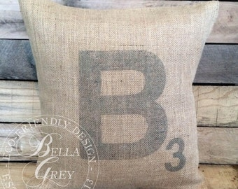 Letter Tile Pillow - Initial Points Pillow - Shabby Chic Decor - Wedding Gift - Anniversary Gift - Housewarming Gift