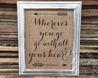 Wherever You Go, Go With All Your Heart! Friendship Gift - Wedding Gift Anniversary Graduation Housewarming Birthday Going Away