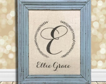 Baby Girl Nursery Personalized Decor Sign Gifts - Calligraphy Wreath with Baby's Name - Shabby Chic Nursery - Christening Gift Goddaughter