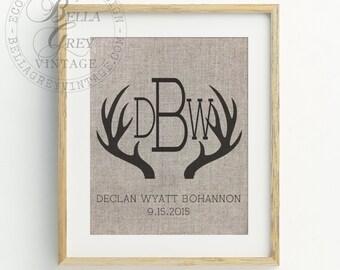 Rustic Antler Monogram Sign - Burlap or Cotton Art Print -  Nursery Decor Baby Shower Newborn Gift - Baby Room Rustic Nursery Woodland Theme