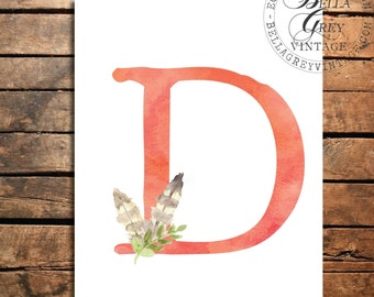 Woodland Nursery Monogram Initial Art Print - Watercolor Art Print - Feather Nursery Decor - Baby Shower - Letter D - Personalized Baby Gift