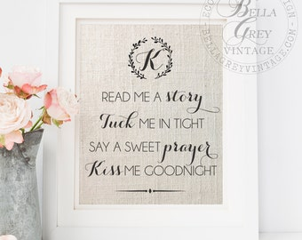 Read Me a Story Tuck Me in Tight Say Sweet Prayer & Kiss me Goodnight Print  | Personalized Nursery Decor | Baptism Baby Shower Gift