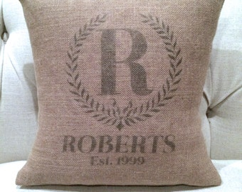 Monogrammed Burlap Pillow Cover - Customized & Personalized Wedding - Last Name and Est. Date
