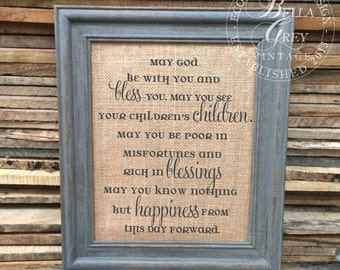 Irish Celtic Marriage Blessing Burlap Sign Cotton Art Print - Vintage Farmhouse - Shabby Chic - Wedding Gift - Anniversary Housewarming Gift